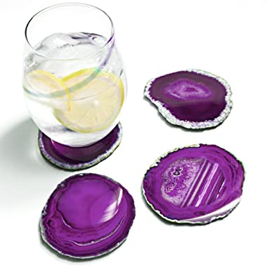 Amethya Natural Sliced Agate Coaster, Cup Mat for Drinks with Rubber Bumper, Set of 4 (Purple)