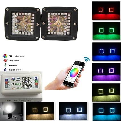 Night Break Light 12W 3x3 Inch Smart Phone IOS U0026 ANDROID Blue Tooth Control  RGB Halo