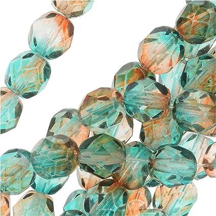 6mm Bicone Beads Topaz Czech Crystal Fire Polished Two Tone Glass Beads