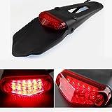 Triclicks LED Rear Fender Brake Tail Light For Dirt Bike Dual Sport Motocross Off-Road (Red Lens)