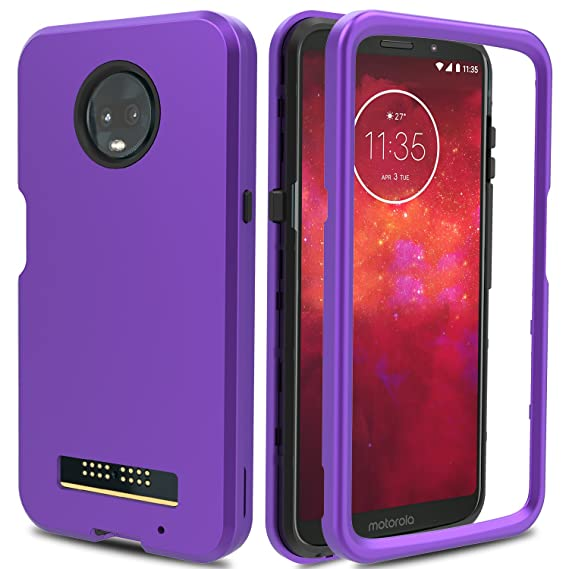 finest selection ac7ba fdf01 Moto Z3 Play Case, Moto Z3 Case, AMENQ 3 in 1 Hybrid Heavy Duty Shockproof  with Rugged Hard PC and TPU Bumper Protective Armor Phone Cover for ...