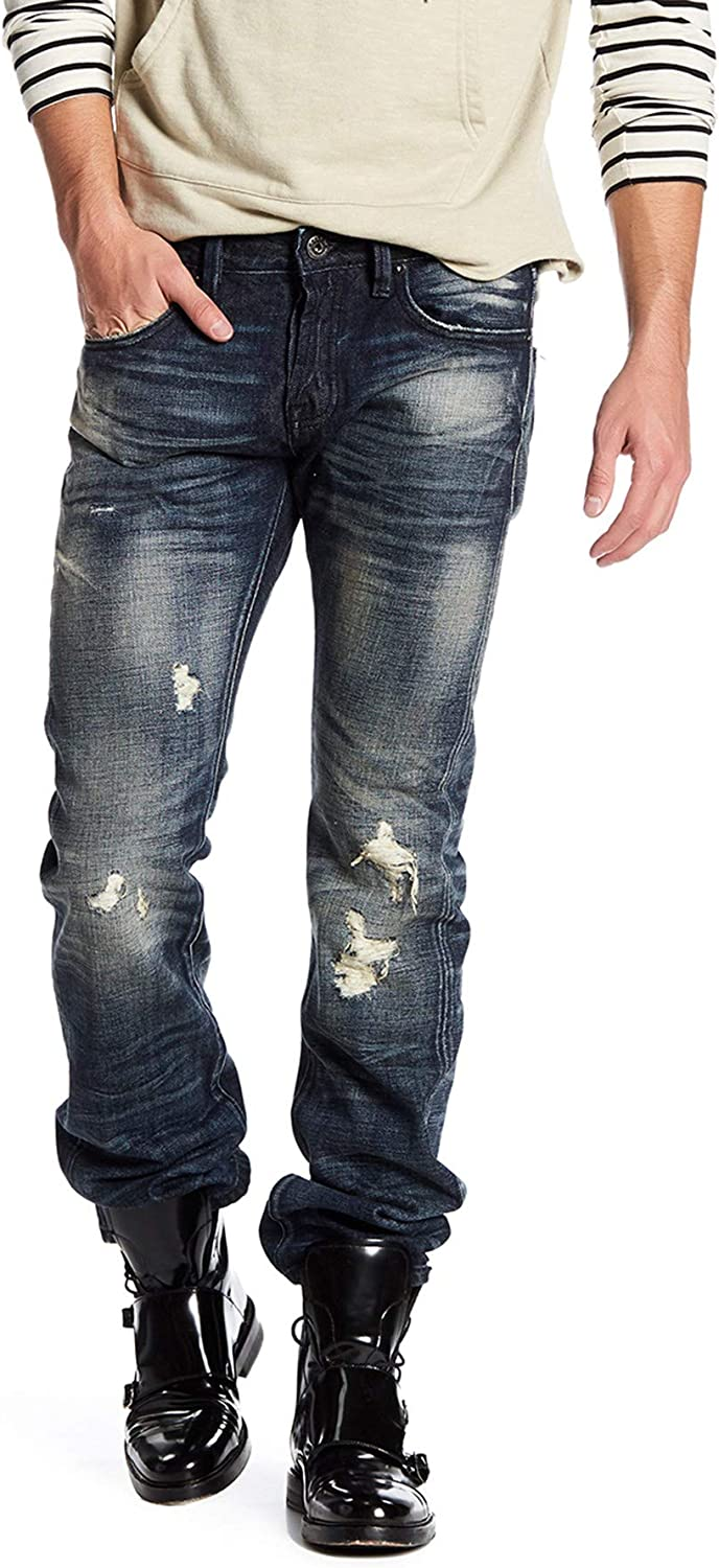 B07G9PLMSQ Cult of Individuality Men's Rebel Straight Selvedge in Night Shadow Destroyed - Size 30 x 34 71jql2BPO1iL.UL1500_