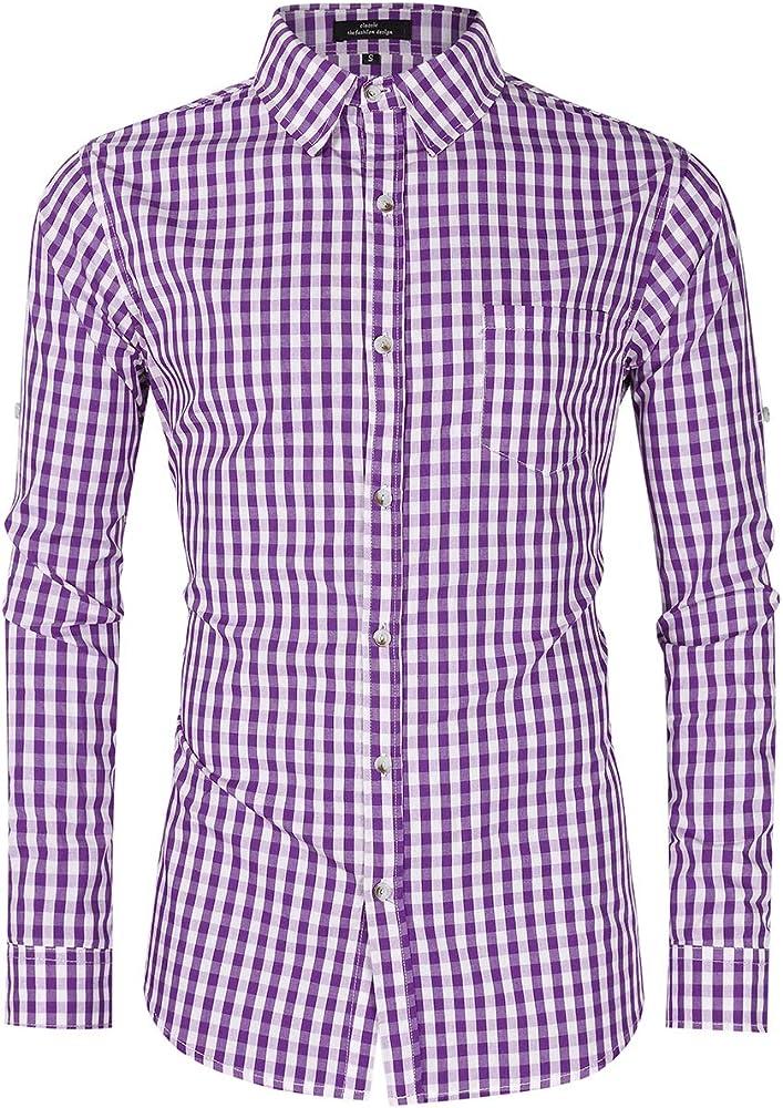 GloryStar - Camisa de Cuadros Alemana para Hombre con Botones - - Small: Amazon.es: Ropa y accesorios