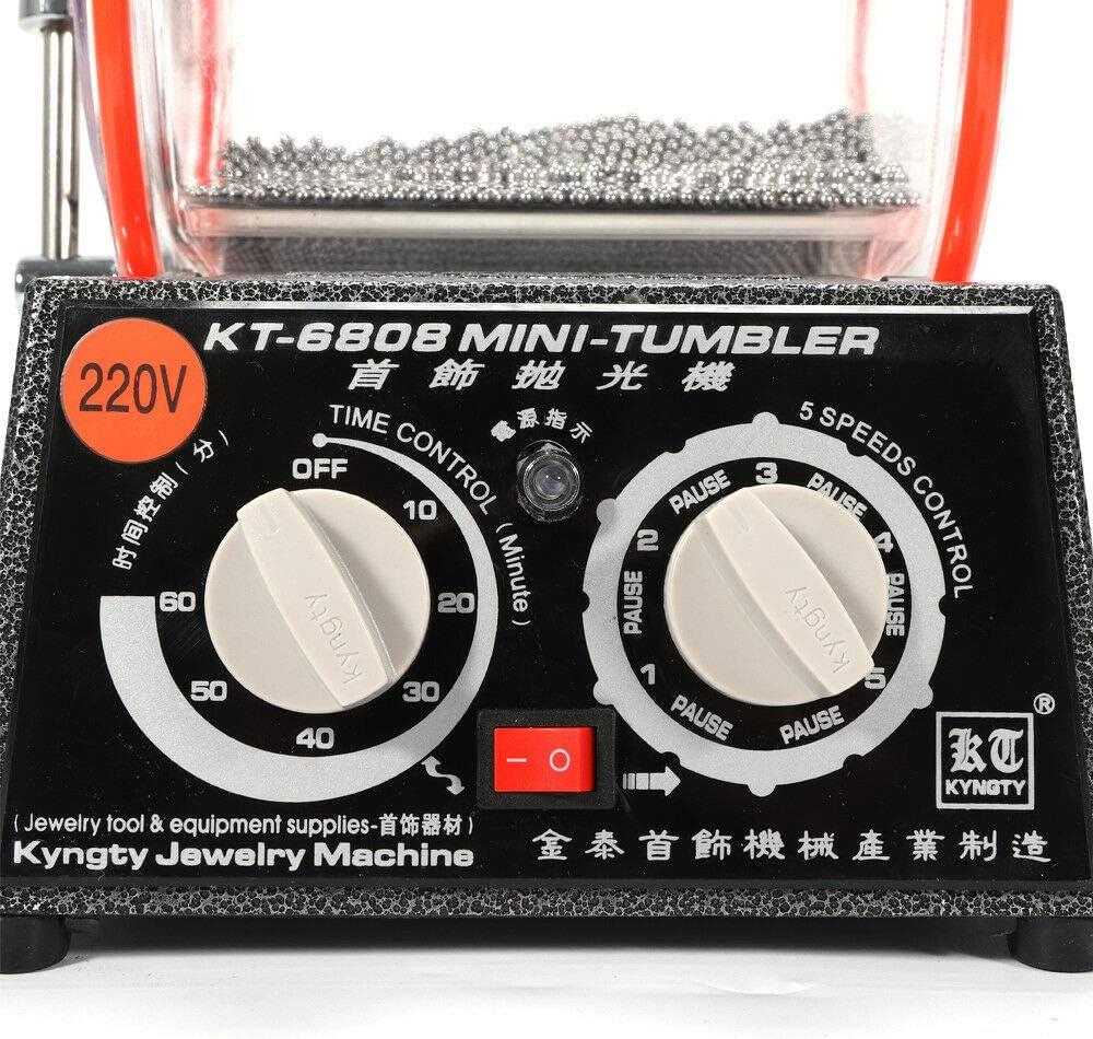 Aboyia Jewelry Polisher Tumbler 6.6 Lbs Mini Professional Burnishing Polishing Machine 45W Tumbling Rotary Surface Finisher Tool Device Polishing Bead Equipment with Glass Barrel Finishing KT-6808