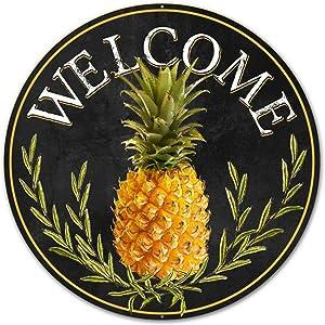 """Craig Bachman 12"""" Round Metal Sign: Welcome Pineapple Wall Hanger Door Hanger MD0460"""