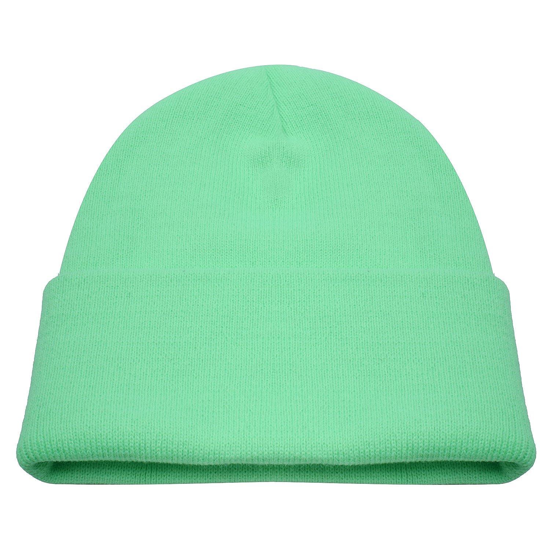 PZLE Green Beanie Cycling Cap Green Mens Mint Green Winter Hat Caps Green d82a9c1067a