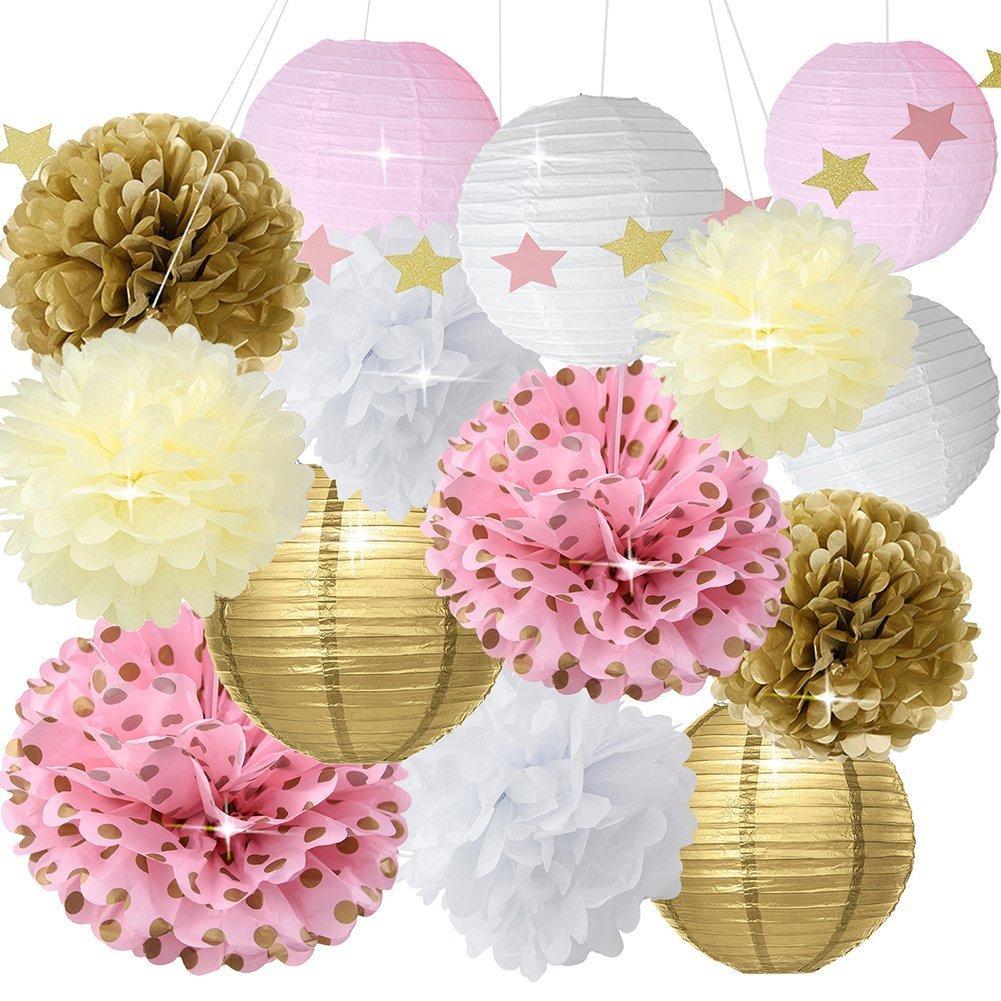 Oro rosa bianca party decorazione kit carta lanterna carta stella ghirlanda Tissue Pom Poms sospeso palla di fiori per la cerimonia nuziale, compleanno, bambino, doccia nuziale, primo compleanno decorazione party decorazione HappyField