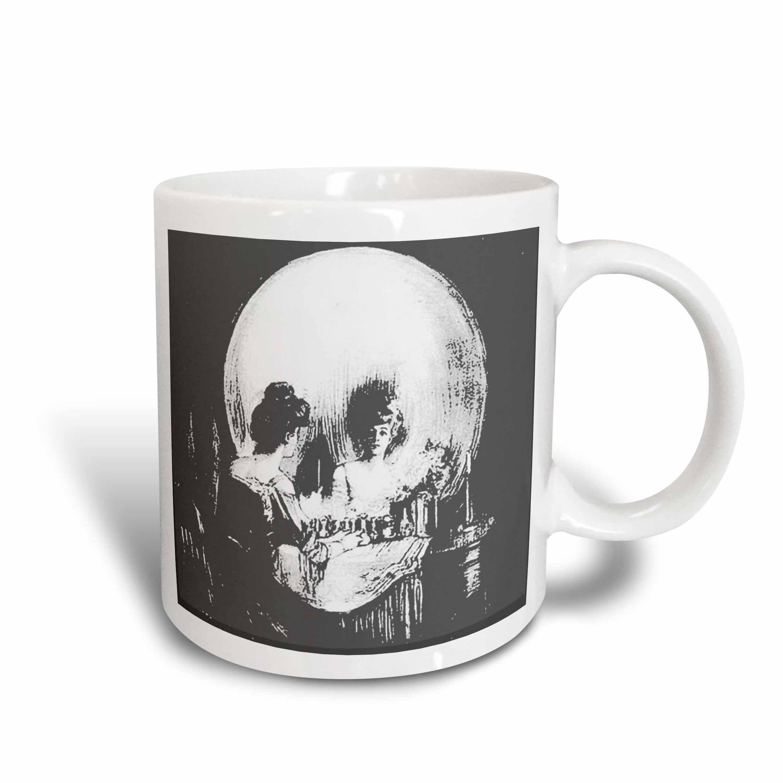3dRose mug_46711_2 All Is Vanity Ghost, Halloween, Optical Illusion, Paranormal, Seasonal, Silhouette, Skeleton Ceramic Mug, 15-Ounce
