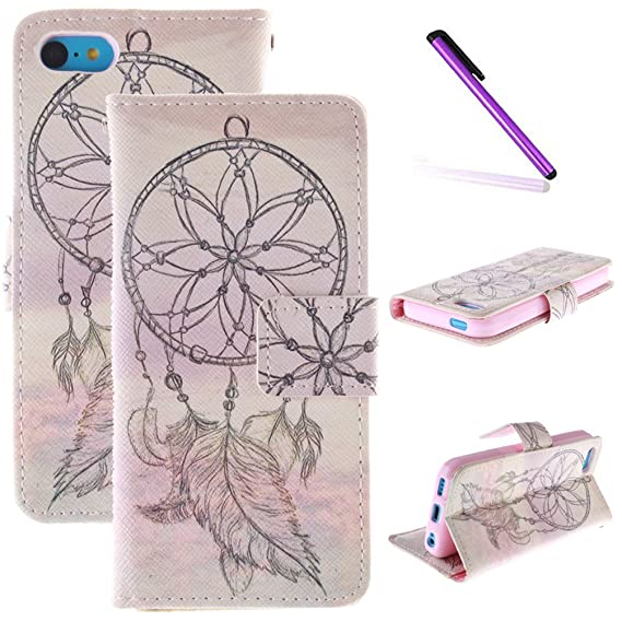 the latest 3dd17 02a05 iPhone 5C Case,LEECOCO Fancy Print Design Wallet Case with Card Slots  Colorful Floral Shockproof PU Leather Flip Stand Case Cover for iPhone  5C,Clouds ...
