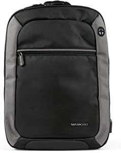 """Max Cases Notebook Backpack - Travel Backpack with USB Charging Port & Headphones for Business and School - up to 15.6"""" Laptop / MacBook Bag - Dedicated 10"""" Tablet Compartment"""