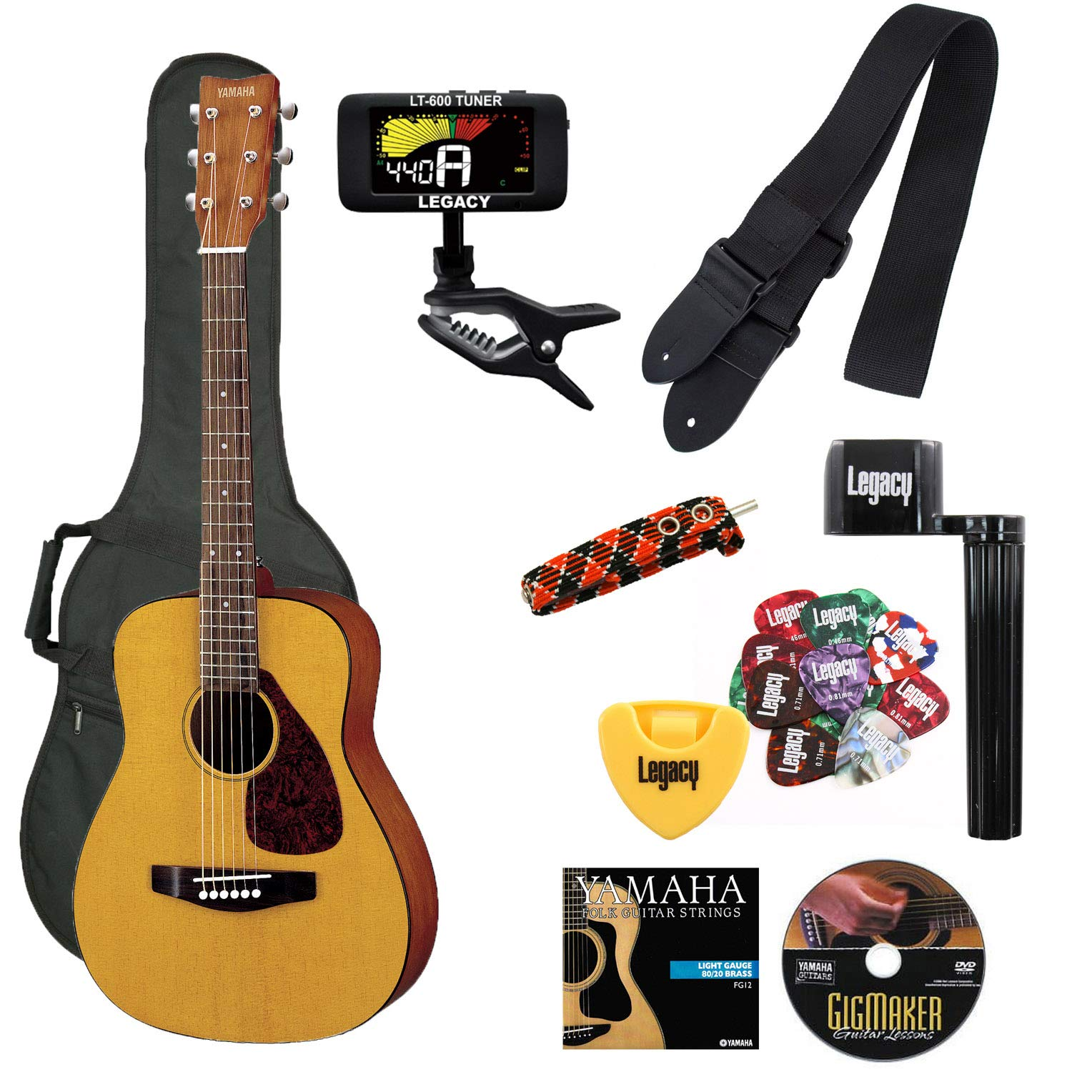 Yamaha JR1 FG Junior 3/4 Size Acoustic Guitar with Gig Bag and Legacy Accessory Bundle by YAMAHA