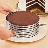 Regolabile torta dell'acciaio inossidabile Anello taglierina, di strato del cioccolato affettatrice Kit mousse affetta torta, HomeYoo Mousse Stampo per torta di formaggio a strati (12 Pollici)