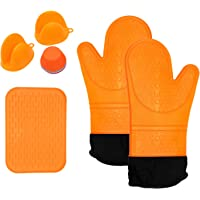 J-eaS Silicone BBQ Baking Cooking Accessory Kit 11 Pcs - 2 Gloves Extra Long, 1 Potholder, 2 Mini Oven Mitts, 6 Reusable Silicone Baking Cups