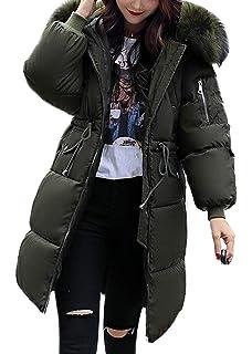 6a290094b78 Aceshin Women Warm Coat Padded Parka Casual Faux Fur Hooded Thicker Winter  Down Jacket Long Overcoat