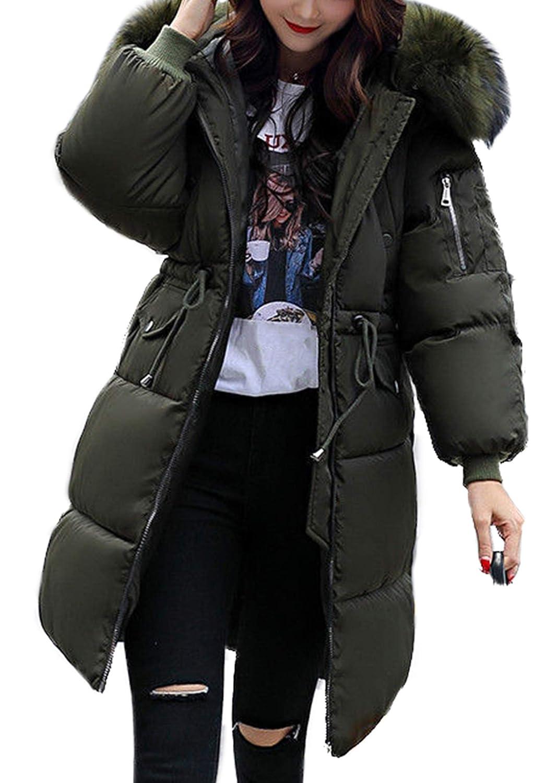Aceshin+Winterjacke Damen Schwarz Mantel Lang Winter Jacke Parka mit Fell Daunenjacke Steppjacke Mit Fellkapuze