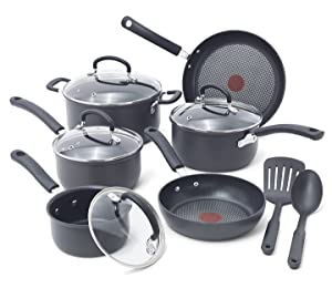 T-fal E765SC Ultimate Hard Anodized Scratch Resistant Titanium Nonstick Thermo-Spot Heat Indicator Anti-Warp Base Dishwasher Safe Oven Safe PFOA Free Cookware Set