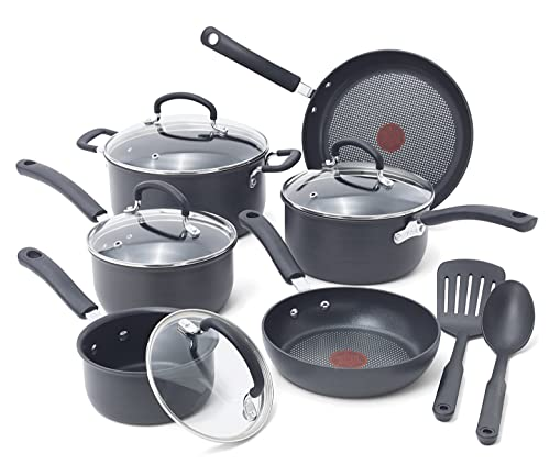 T-fal E918SC Ultimate Hard Anodized Durable Nonstick Cookware Set, 12-Piece, Gray