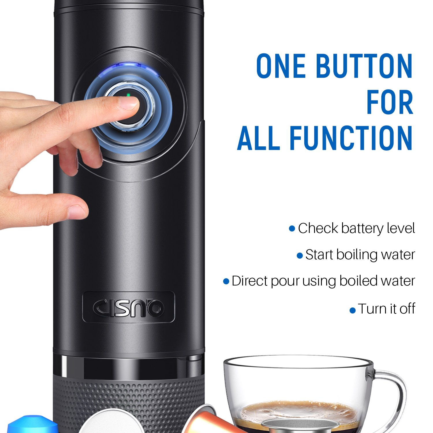 Compatible With Nespresso Capsules Good For Traveler Black BPA Free 15 Bars Pressure Boil Water Automatically Pump CISNO NCC-N01 Automated Portable Espresso Machine