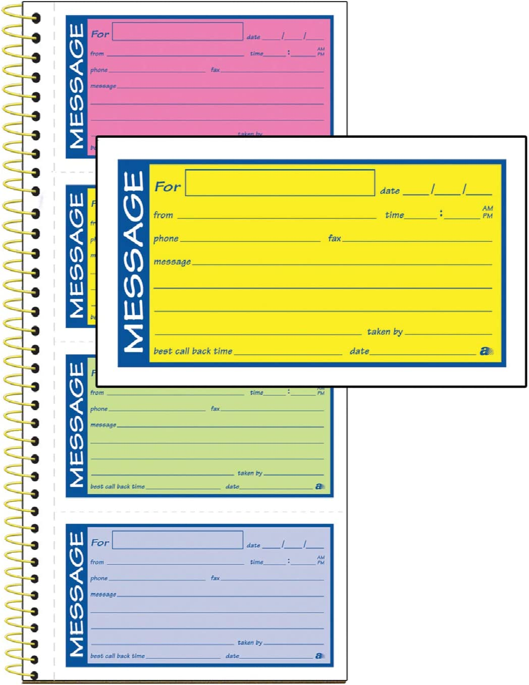 "Adams High Impact Phone Message Book, 2-Part Carbonless, 5-1/4"" x 11"", 200 Sets per Book (SC1153RB)"