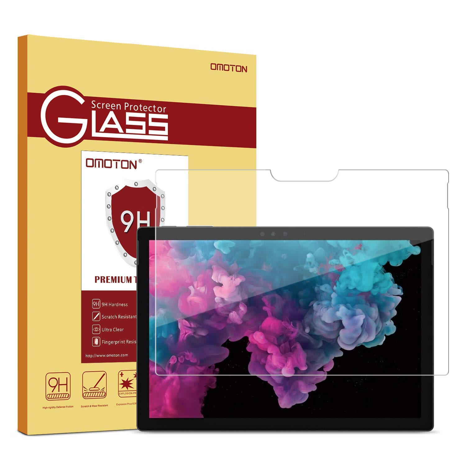 """OMOTON Microsoft Surface Pro 12.3"""" (2017) / Surface Pro 4 Screen Protector, Tempered Glass with Scratch Resist, No Bubbles, HD Clear, 9H Hardness, Easy Installation"""