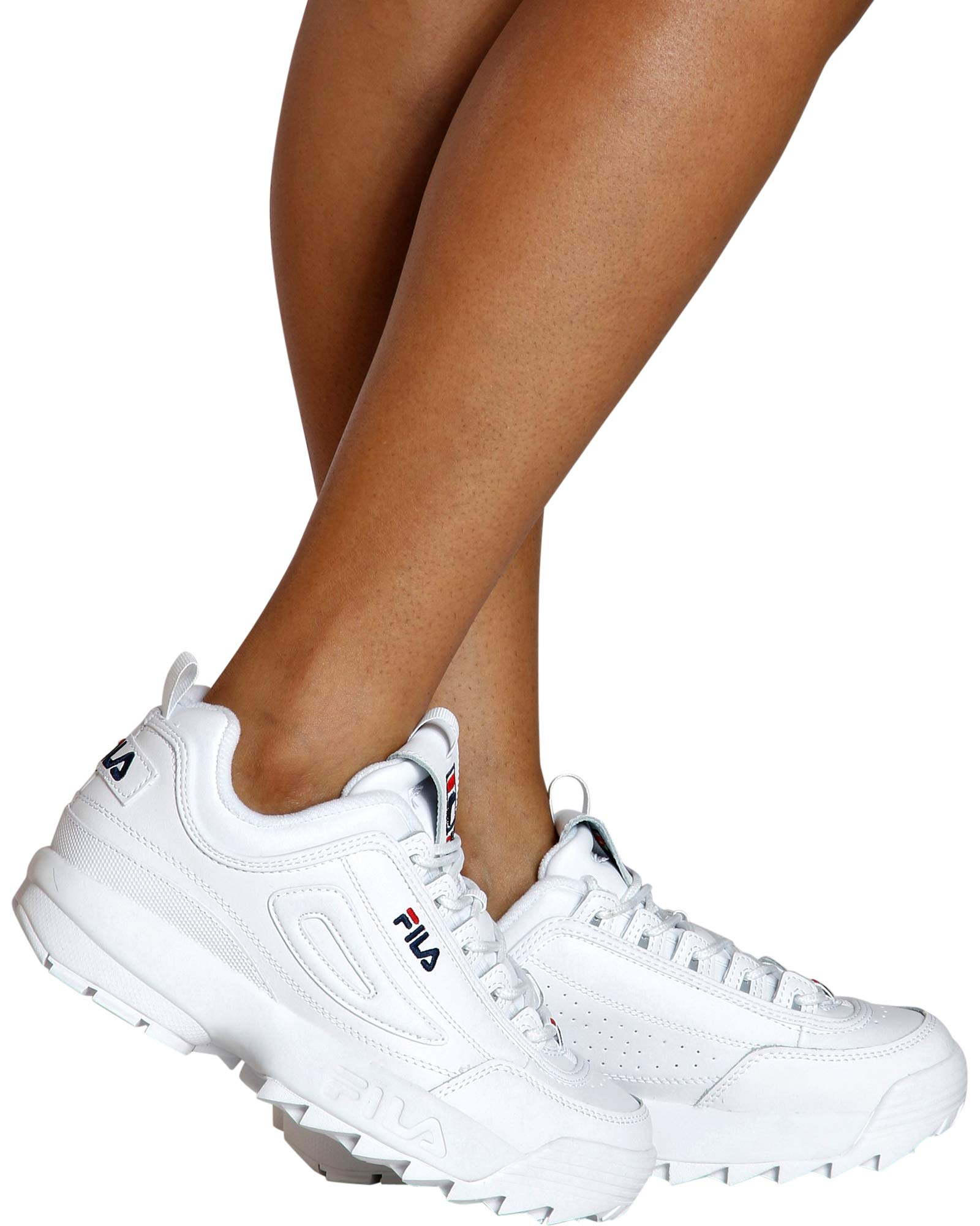 Fila Women's Disruptor II Premium Sneakers, White/Fila Navy/Fila Red, 7.5 M US