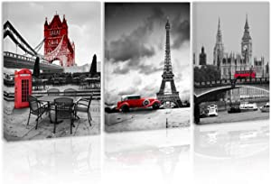 Black and White Red London Tower Bridge Big Ben Wall Art Decor Car Front Paris Eiffel Tower Canvas Painting Kitchen City Bus Telephone Booth Prints Pictures for Home Living Dining Room