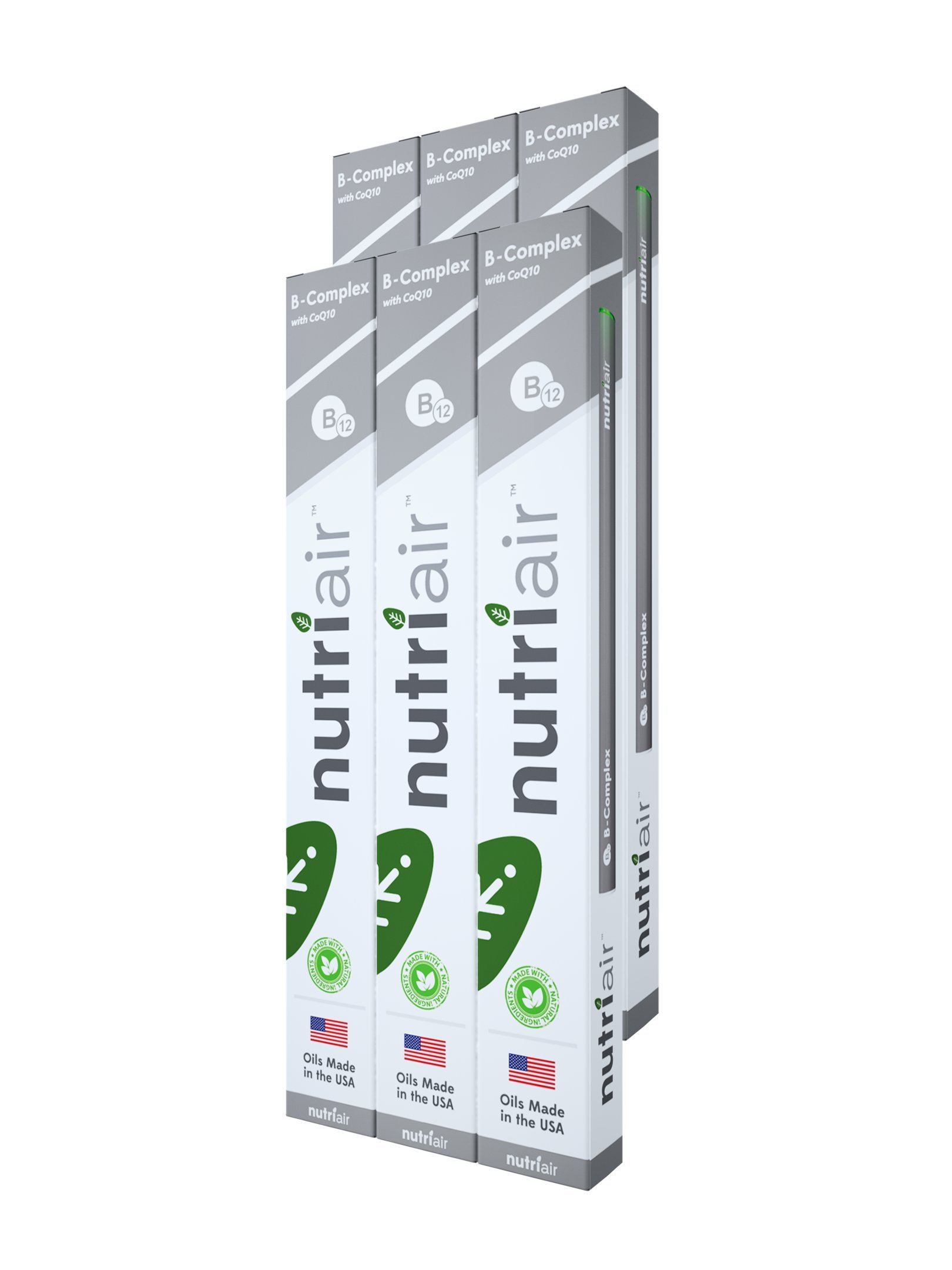 Nutriair B-Complex B12 Inhaler - Nutritional Aromatherapy Pen with CoQ10 - Essential B Vitamin/Energy Supplement - B12, B6, B2, B1 - Nicotine Free, Great Tasting Flavor with NO Calories - (6 Pack)