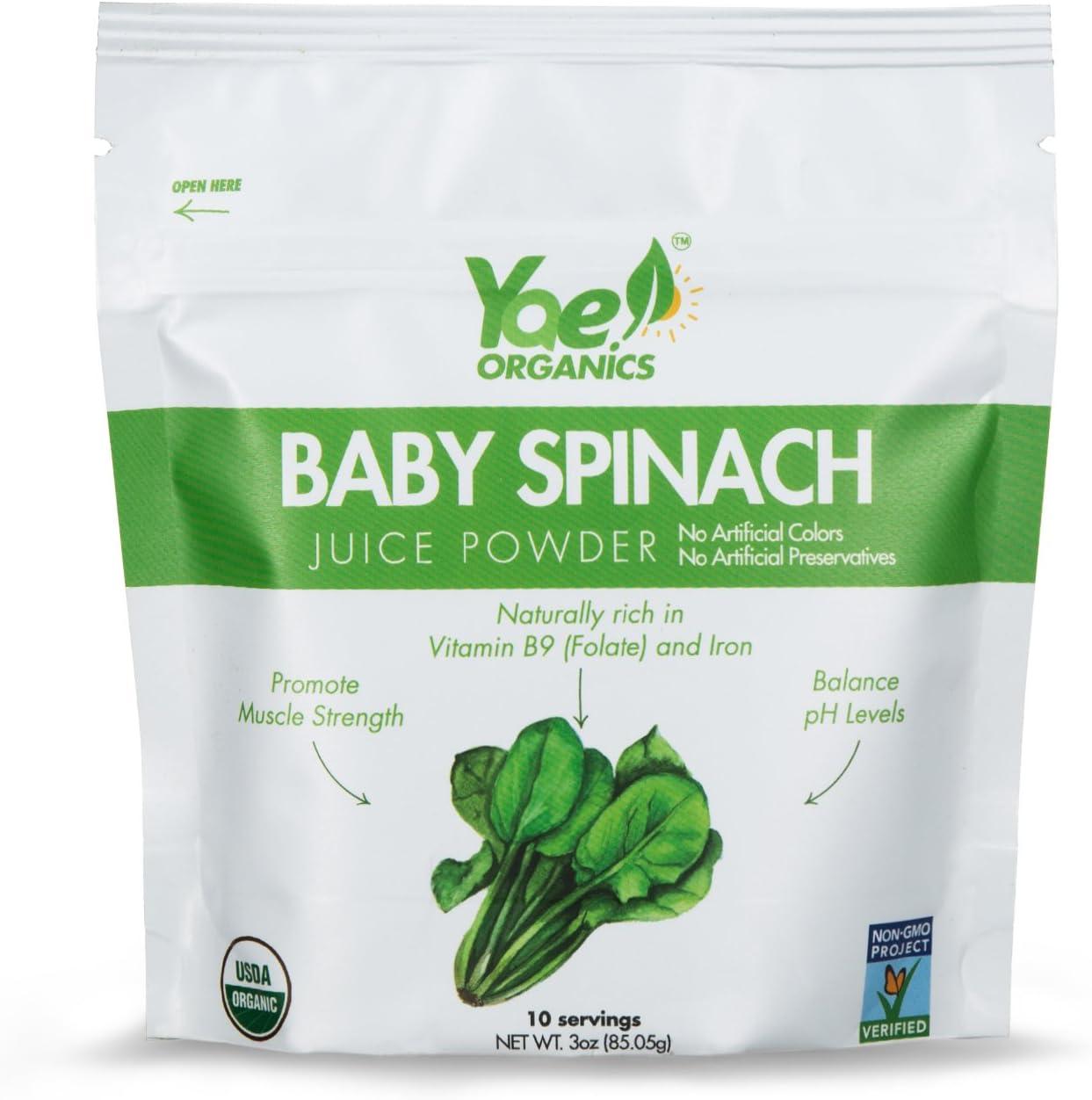 Yae! Organics 3oz/10 Servings Keto Baby Spinach Juice Powder, 100% Pure Vegan, Gluten Free, Non-GMO, A Great Source of Fiber, Iron, Antioxidants, Essential Vitamins, and Minerals