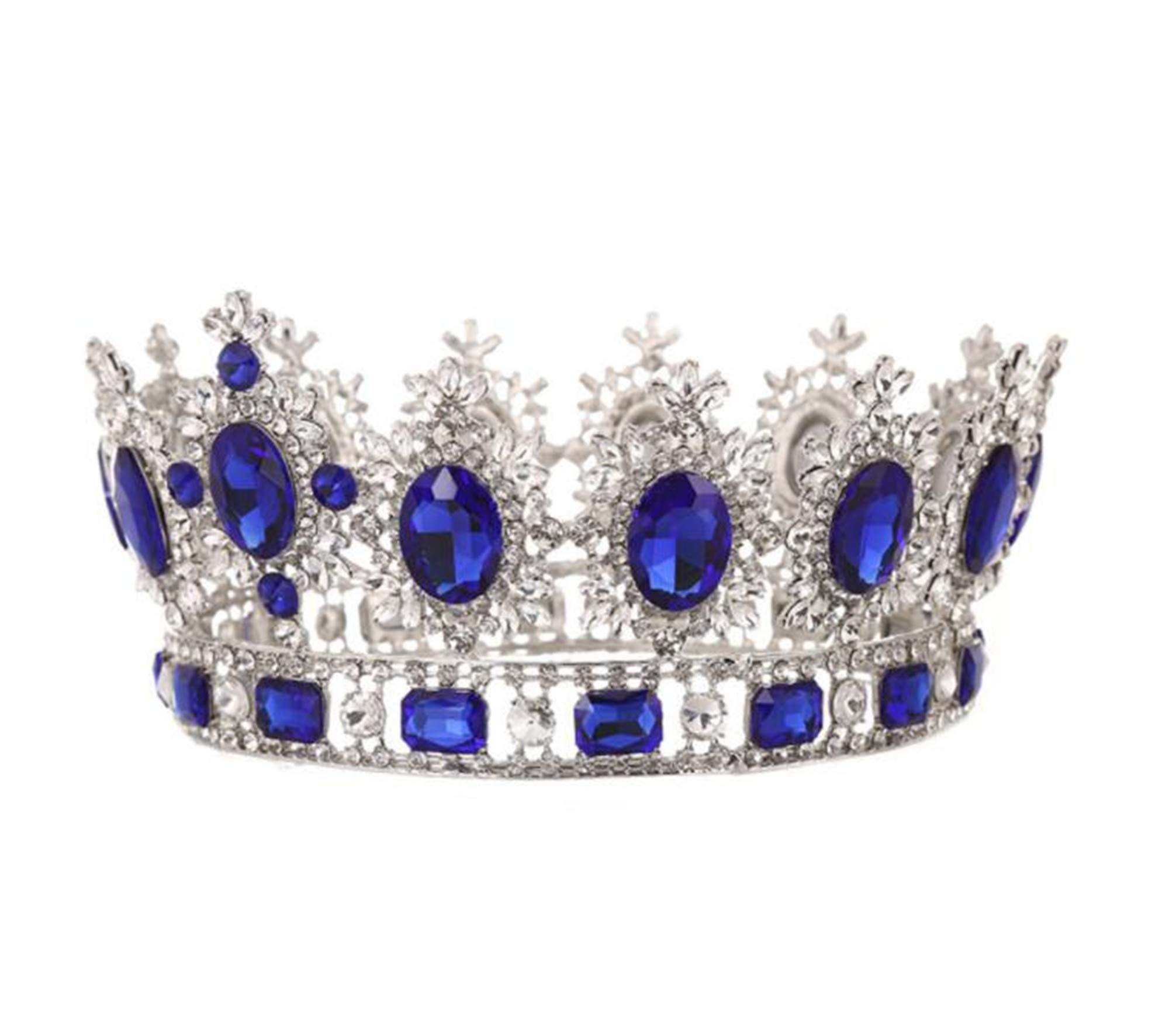 WIIPU Large Gemstone Crystal King Crown Wedding Prom Party Pageant,6.7'' Diameter(A1365) (Blue)