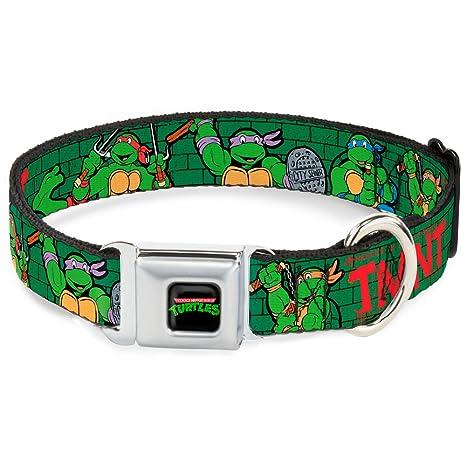 Buckle Down Dog Collar NTA-Classic TEENAGE MUTANT NINJA TURTLES Logo - Classic TMNT Group Pose2/TMNT Green Brick Wall - Medium 11-17
