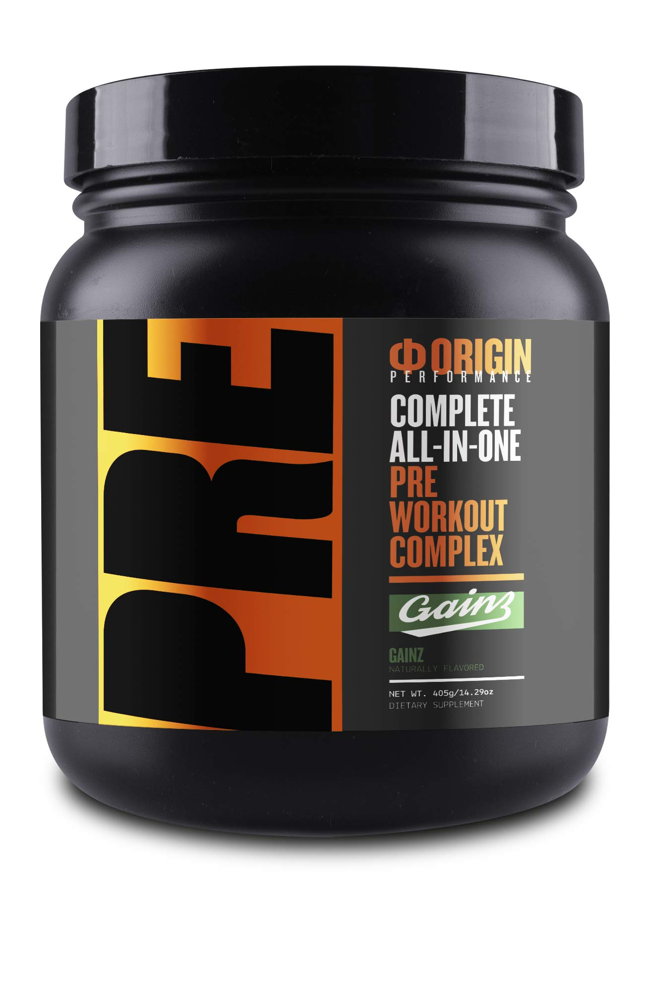 Origin Uncompromised Pre-Workout (Gainz - Green Apple) - Complete All-in-One Pre Workout Complex