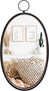 RiteSune Black 12 Inch Mirrors for Wall Decor, Brushed Metal Frame Oval Wall Mirror for Bedroom Bathroom Living Room Entryway