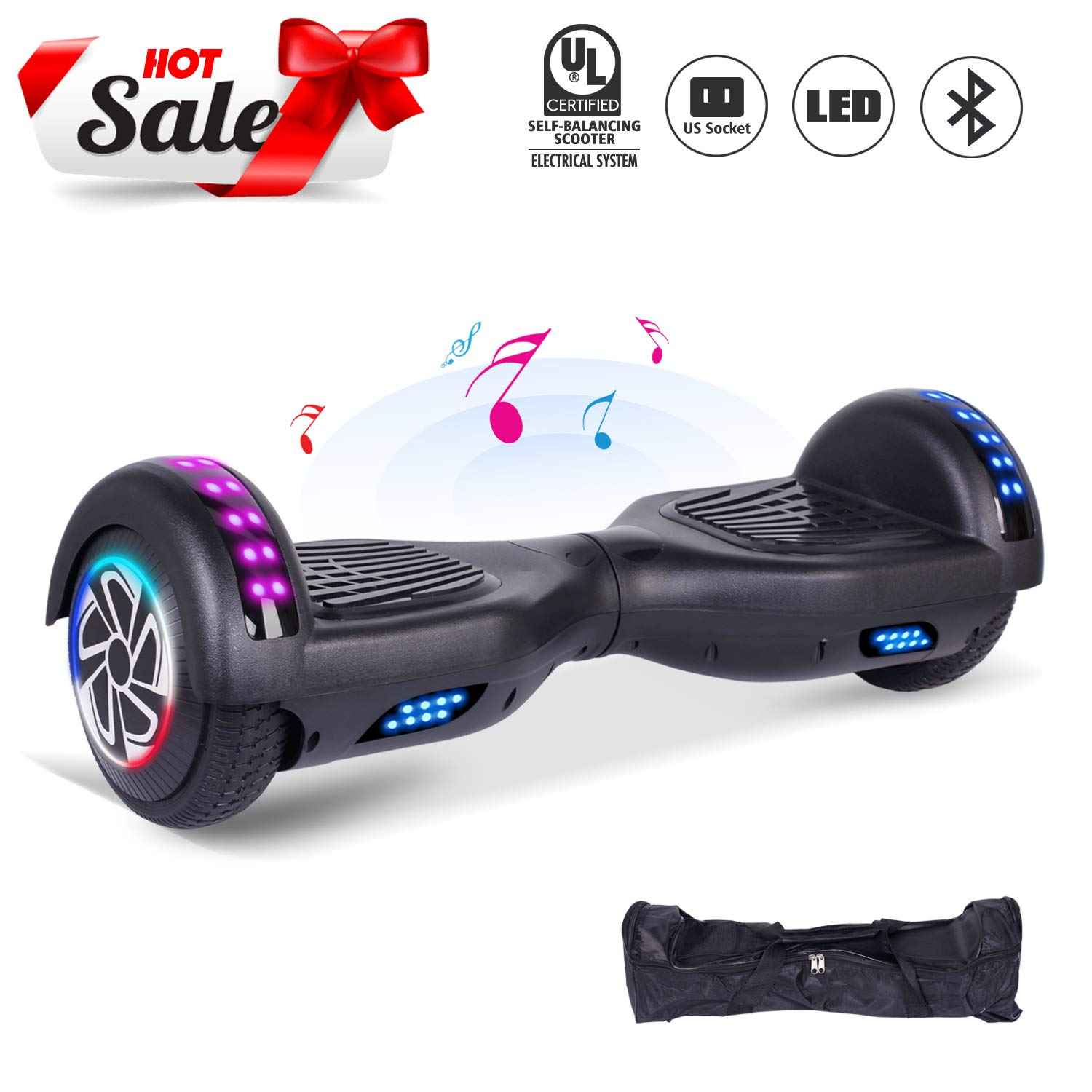 CBD 6.5'' Hoverboard for Kids, Two Wheels Self-Balancing Electric Scooter with Bluetooth and LED Lights,Smart Hover Board - UL2272 Certified (Ultimate Series - Black)