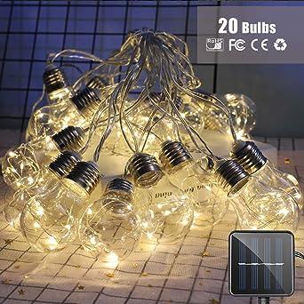 Bombillas Guirnaldas de Luces Solar, Morbuy Alambre de Cobre Jardín Exterior Impermeable Decorativa Cadena de Luces 8 Modos para Navidad Festival Fiesta Terraza Árbol (8m / 20 Bombilla): Amazon.es: Iluminación
