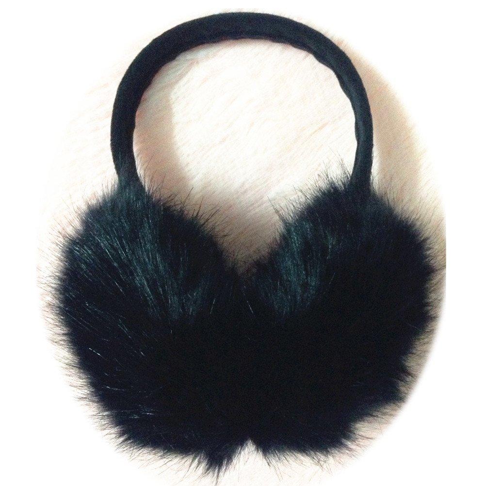 TRUE-FUR Genuine Fox Fur Earmuffs Furry Earflap (Black)