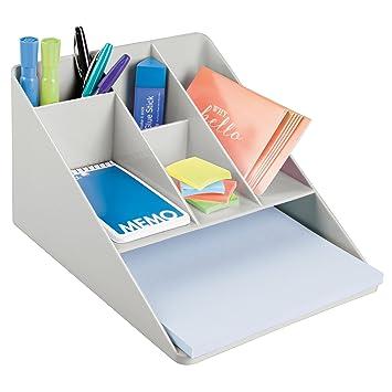 mDesign Bandeja de escritorio de plástico – Organizador de oficina con 5 compartimentos pequeños y 1