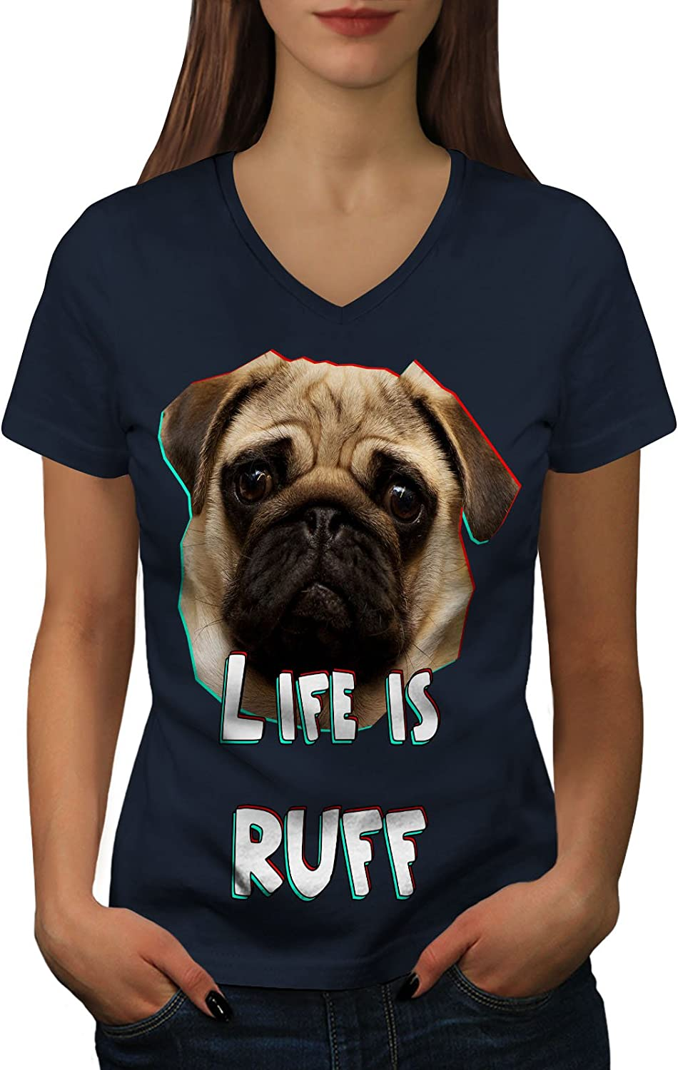 Life Printed Design Tee Wellcoda Pug Dog Face Look Womens V-Neck T-Shirt