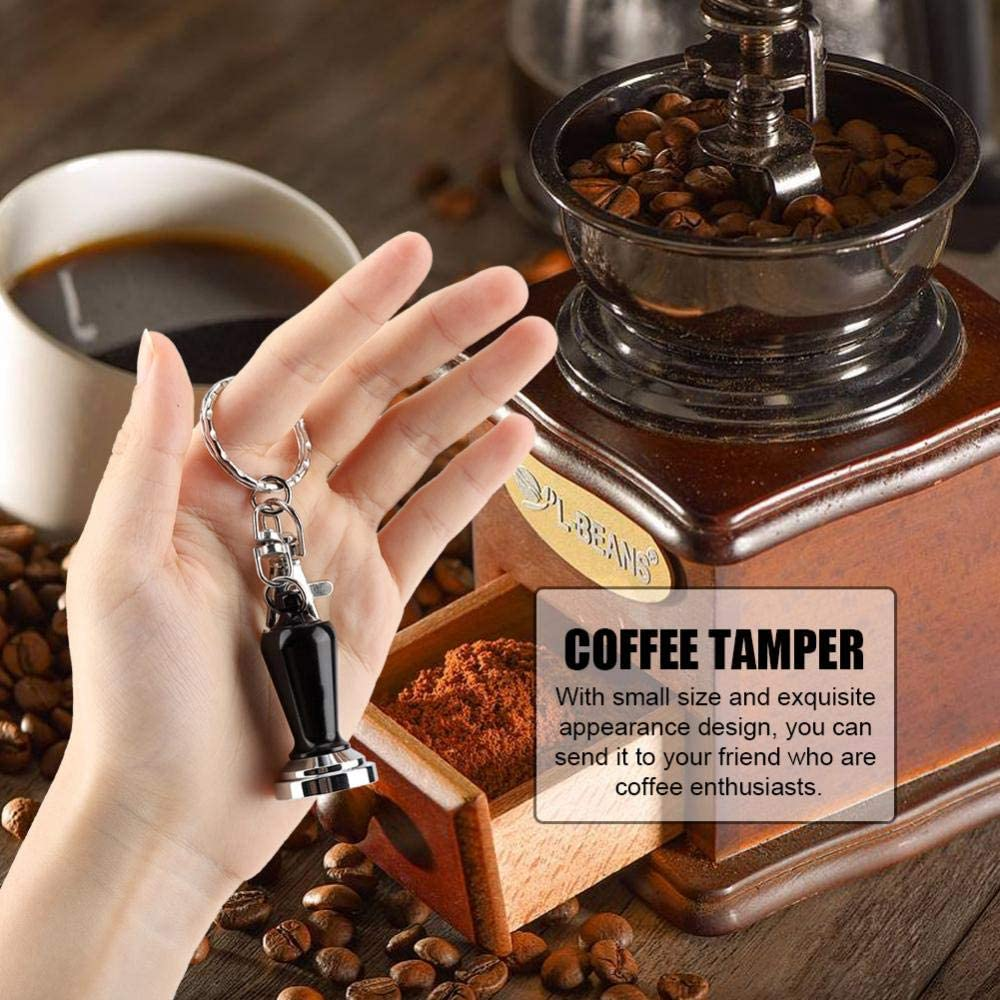 Diyeeni 23mm Coffee Tampers,Stainless Steel Flat Base Coffee Tamper with Key Ring,Coffee Grinder Tamper,Barista Espresso Coffee Bean Press Tool for Office,Cafe,Gift for Coffee Lovers Yellow