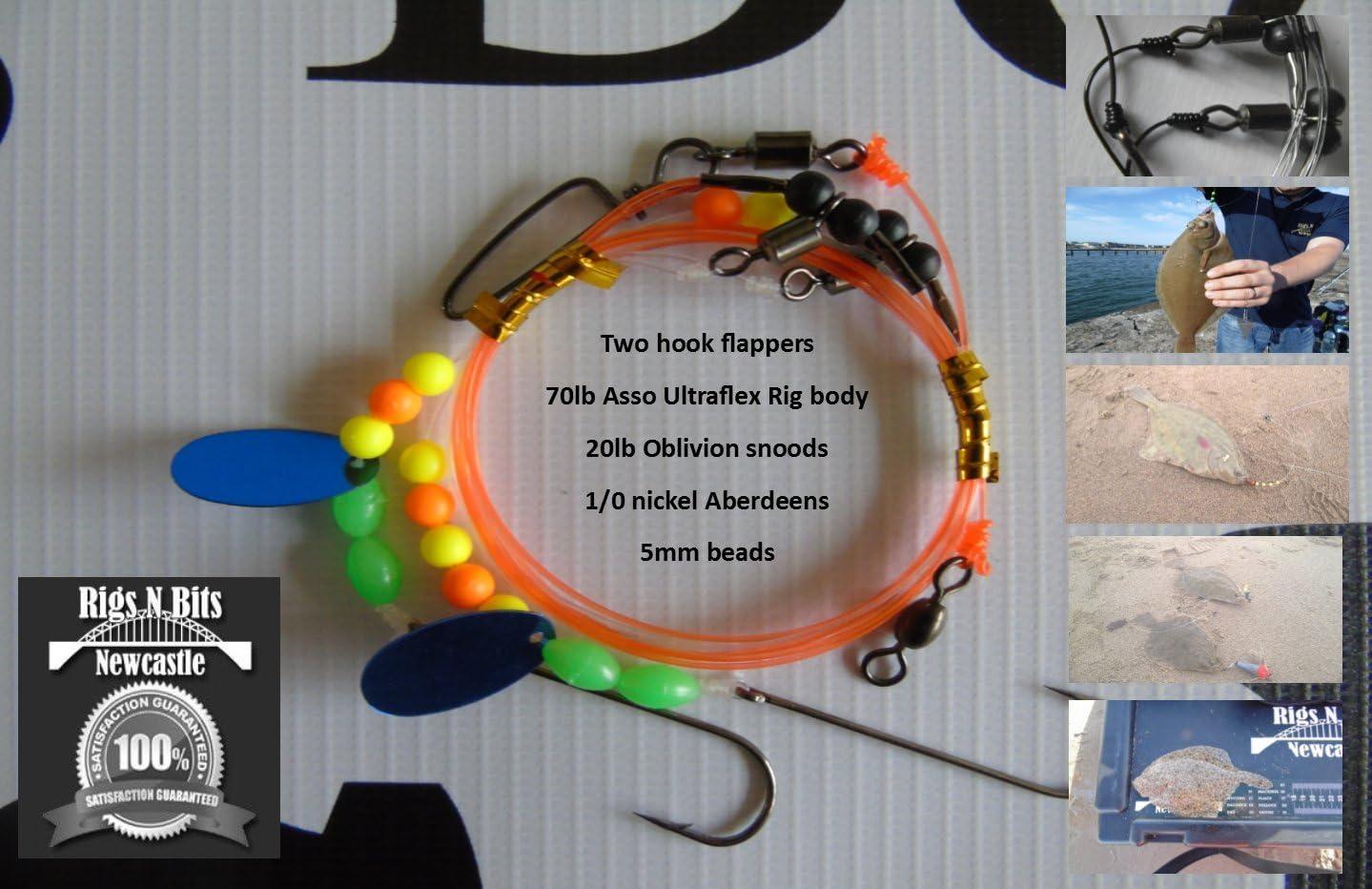 2 hook flapper Turbot Sea fishing Rig Flounder Dab Plaice Sole sz4