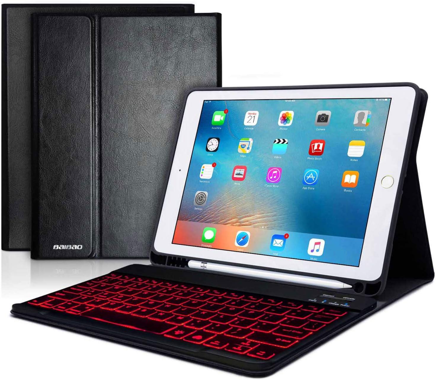 iPad 9.7 Keyboard Case for iPad 6th Gen 2018 -iPad 5th Gen 2017 -iPad Pro 9.7 -iPad Air 2&1 -Leather iPad Case with Backlit Keyboard and Pencil Holder-Removable Bluetooth Keyboard