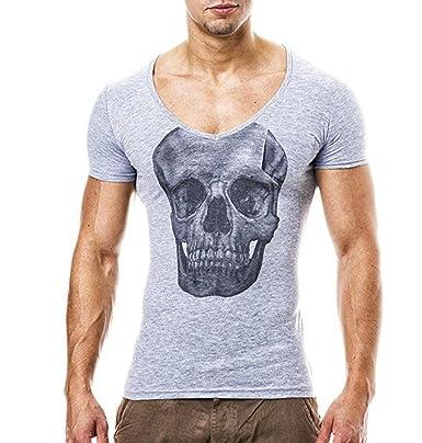 ZEZKT-Herren Schädel Kopf Printed T-shirt V-Ausschnitt Hoodie Casual Bluse  Rundhals 3658f6a8d1