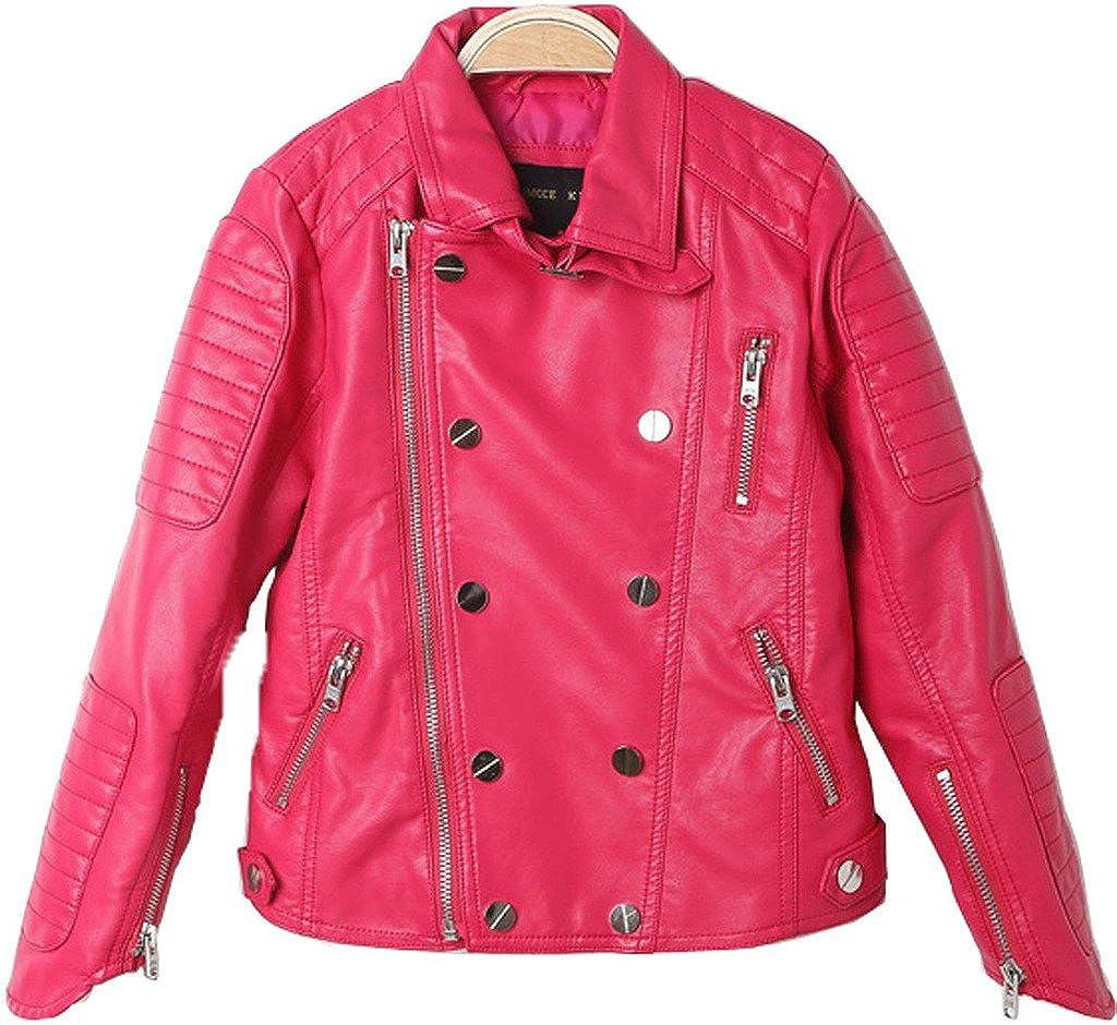 Girls Biker Jacket faux leather Rivets Leather Motor Jacket