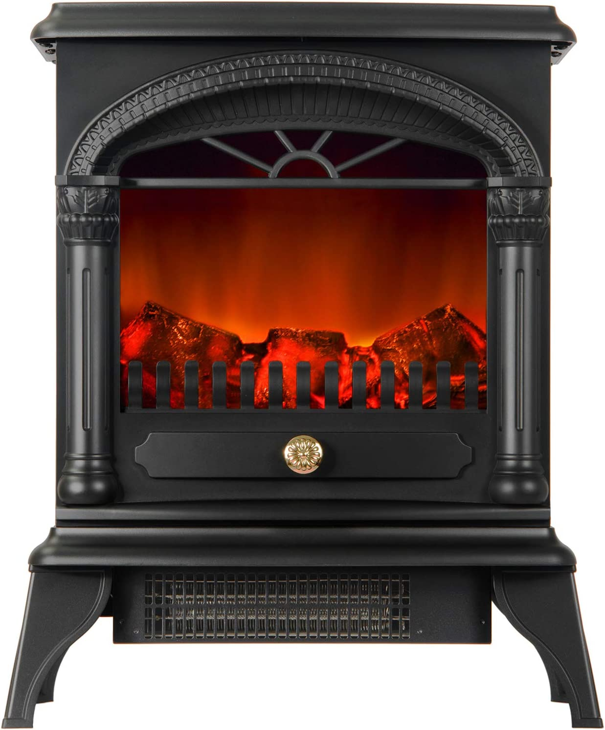 Freestanding Portable Heater,With Log Wood Burner Effect 900-1800w Electric Fire Overheat Protection