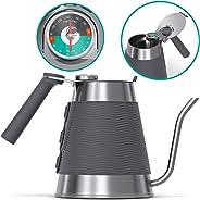 Gooseneck Kettle - Coffee Gator True Brew Coffee Kettle - New 2019 Model - Integrated Thermometer, Speedy-fill Lid - Professi