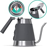 Gooseneck Kettle - Coffee Gator True Brew Coffee Kettle - New 2019 Model - Integrated Thermometer, Speedy-Fill Lid - Professional Pour Over Kettle for Induction and All Stovetops - 54oz