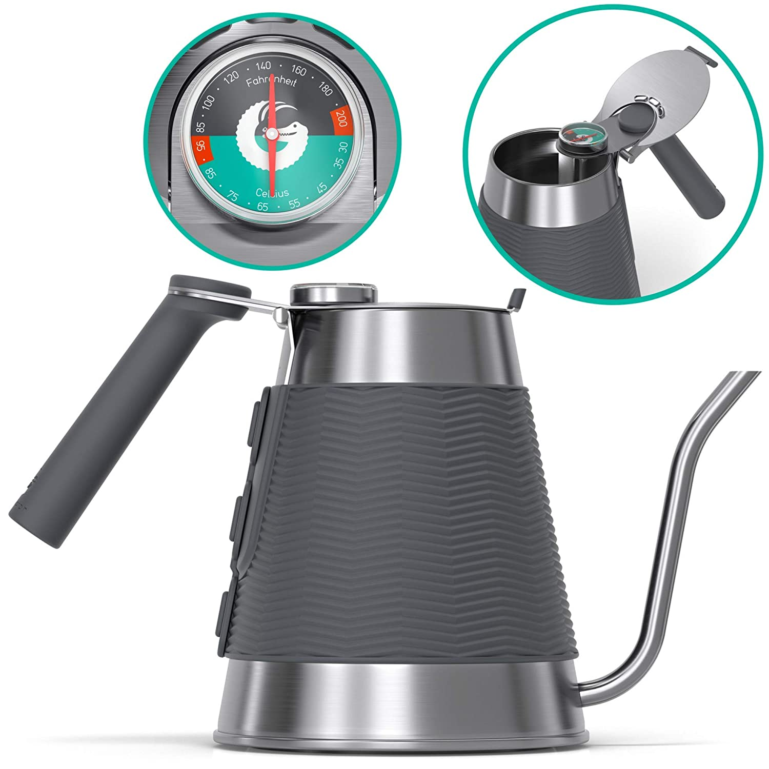 Coffee Gator True Brew Kettle - Professional Pour Over Kettle with Precision Gooseneck Spout, Integrated Thermometer and Speedy-fill Lid - Works on all Stovetops Including Induction - 54 ounce