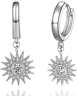 silver cubic cz dot hoop hoops earring simple earrings