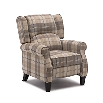 More4homes Eaton Wing Back Fireside Check Fabric Recliner Armchair