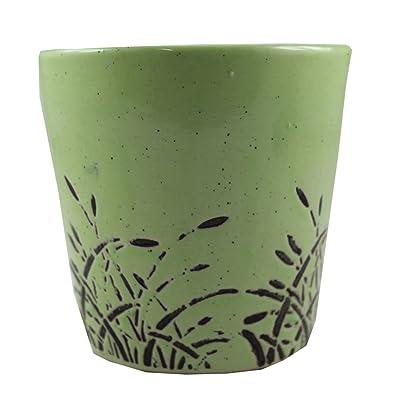 Odishbazaar Green Ceramic Plant Flower Planter Pots (10x10x10 CM) : Garden & Outdoor