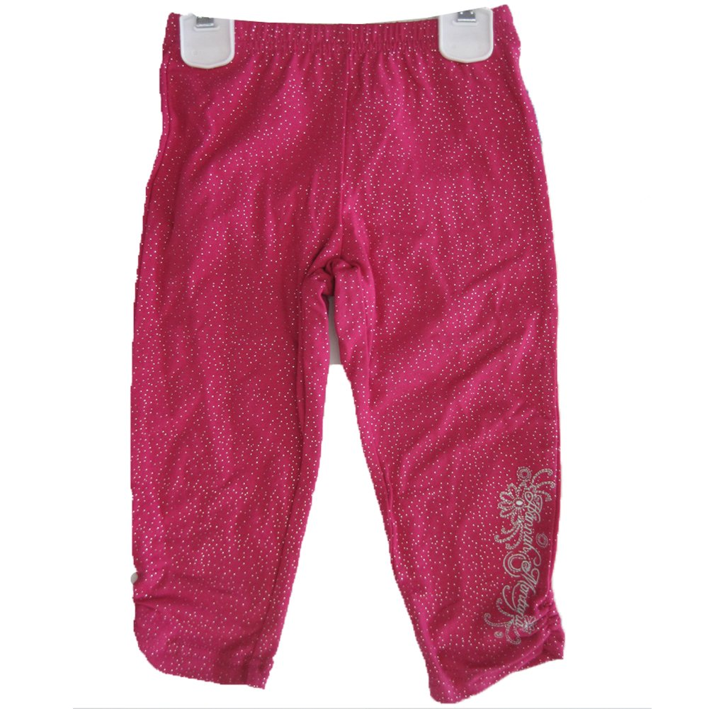 Disney Little Girls Pink Sparkle Hannah Montana Embroidered Capri Pants 4 by Disney (Image #1)